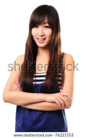 Portrait of a beautiful girl in a light summer dress. Isolated over white background. - stock photo