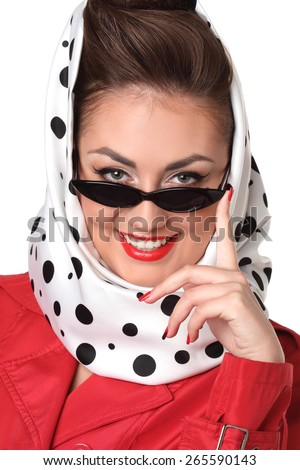 Portrait of a beautiful girl in sunglasses . stylish hair and stylish make-up. bright emotions. retro style - stock photo