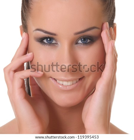 portrait of a beautiful girl. on a white background - stock photo