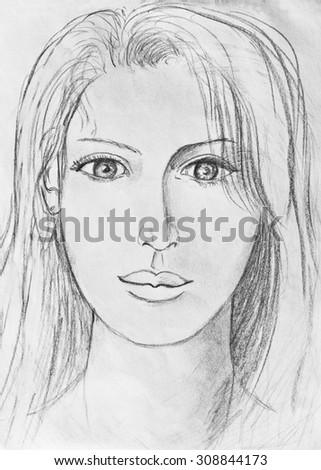 Portrait of a beautiful girl. Pencil drawing - stock photo