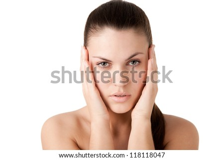 Portrait of a beautiful girl with a clean makeup - stock photo