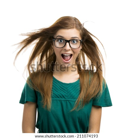 Portrait of a beautiful girl with a happy expression isolated on white background - stock photo