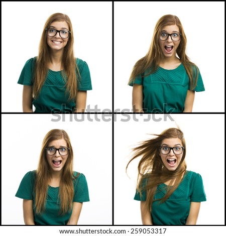 Portrait of a beautiful girl with a silly happy expression - stock photo