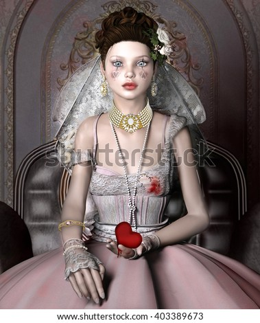 Portrait of a beautiful girl with broken heart in her hands - 3D illustration  - stock photo