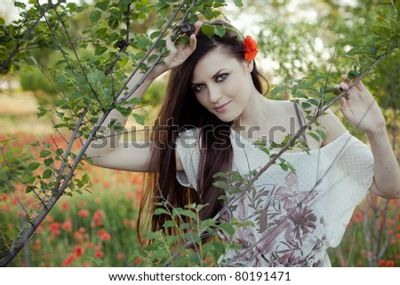 portrait of a beautiful girl with poppies in her hair in a field - stock photo