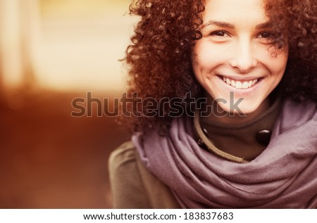 portrait of a beautiful happy girl spring sunny day - stock photo