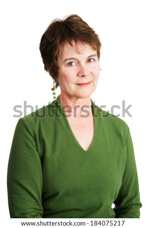 Portrait of a beautiful Irish-American woman in middle age.  Isolated on white.   - stock photo