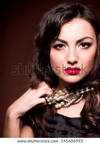 Portrait of a beautiful lady with bad mood - stock photo