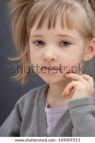 Portrait of a beautiful little girl - closeup shot - stock photo