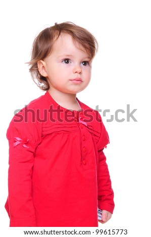 portrait of a beautiful little girl in a red dress. isolated on a white background - stock photo