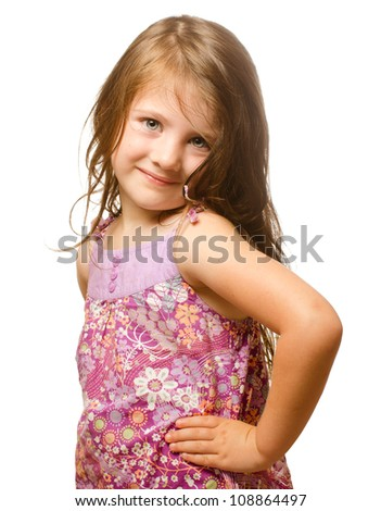 Portrait of a beautiful little girl Isolated on white background. - stock photo