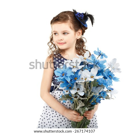 Portrait of a beautiful little girl with flowers isolated on white background - stock photo