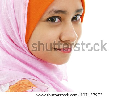 Portrait of A Beautiful Muslim woman isolated on white - stock photo
