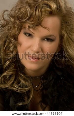 portrait of  a beautiful plump woman - stock photo
