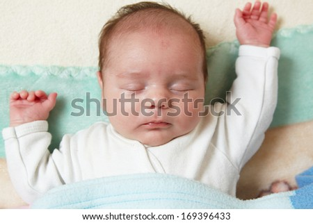 portrait of a beautiful sleeping baby  - stock photo