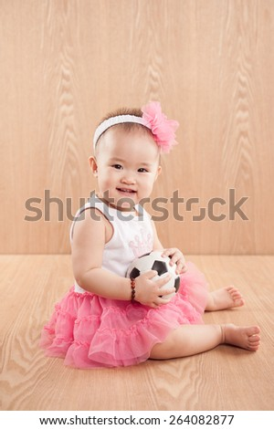 Portrait of a beautiful smiling baby girl - stock photo