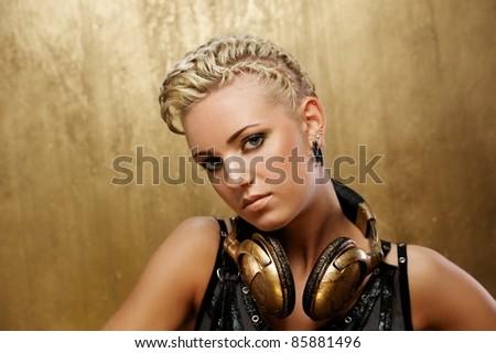 Portrait of a beautiful steam punk girl - stock photo