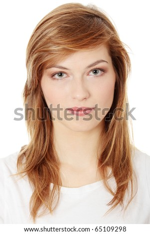 Portrait of a beautiful teen woman. Isolated on white - stock photo