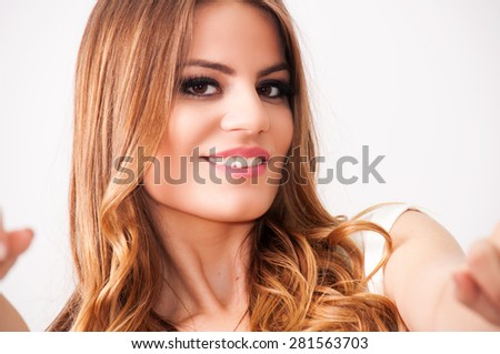 Portrait of a beautiful teenage girl - stock photo
