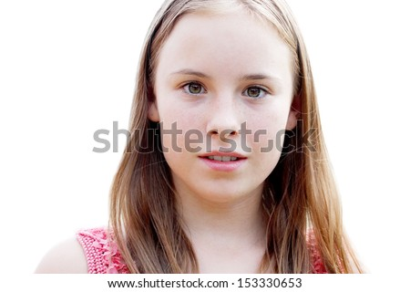 portrait of a beautiful teenage girl closeup isolated over white - stock photo