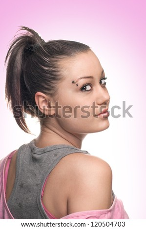 Portrait of a beautiful teenager girl - stock photo