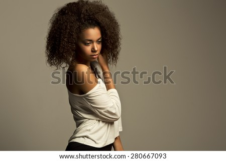 Portrait of a beautiful vogue model young African woman  - stock photo