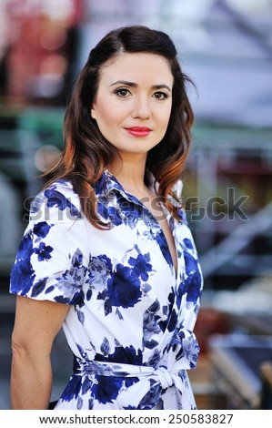 portrait of a beautiful woman. - stock photo
