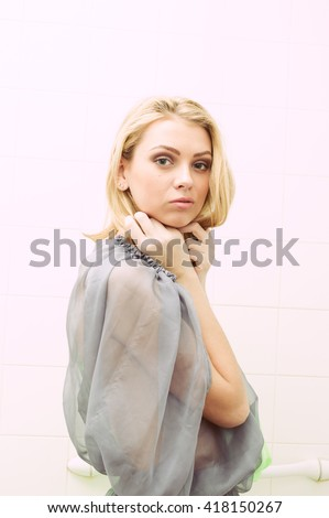 Portrait of a beautiful woman in chiffon dress, closeup - stock photo
