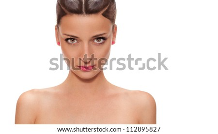 portrait of a beautiful woman isolated on white.retouched - stock photo