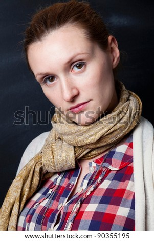 Portrait of a beautiful woman. Studio shot. - stock photo