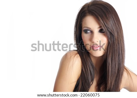 Portrait of a  beautiful woman with creativity hairstyle and makeup - stock photo