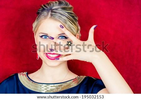 Portrait of a beautiful woman with make-up. Jewelry. Beauty. Fashion photo - stock photo