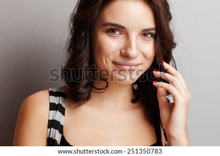 Portrait of a beautiful, young and natural girl - stock photo