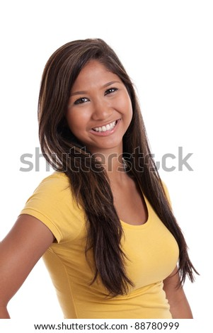 Portrait of a beautiful young Asian woman isolated on a white background - stock photo