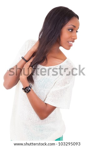 Portrait of a beautiful young black woman , isolated on white background - stock photo