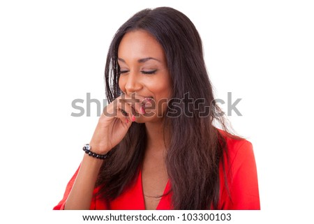 Portrait of a beautiful young black woman laughing, isolated on white background - stock photo