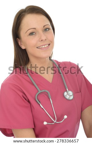 Portrait Of A Beautiful Young Female Doctor In Her Twenties Smiling And Wearing Pink Theatre Scrubs - stock photo