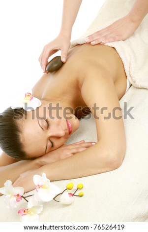 Portrait of a beautiful young girl at the day spa - stock photo