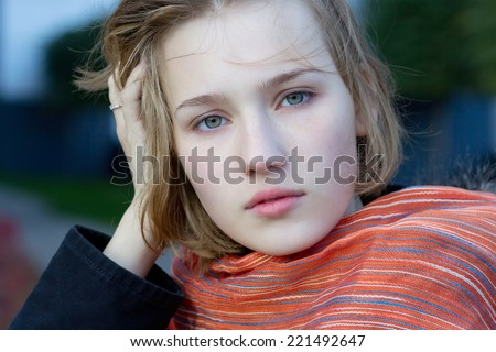 portrait of a beautiful young girl closeup - stock photo