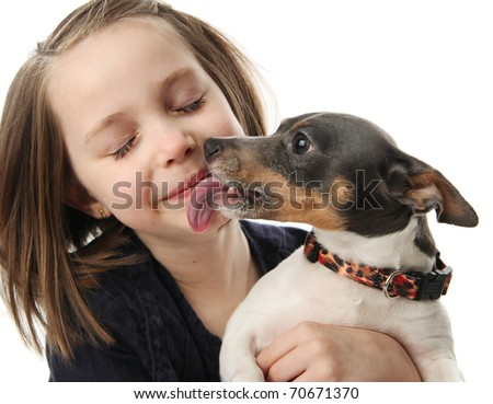 Portrait of a beautiful young girl snuggling with and being licked by a cute terrier puppy dog,  isolated on white in studio - stock photo