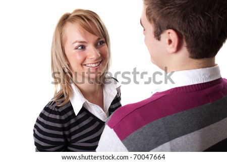 Portrait of a beautiful young happy smiling couple - isolated - stock photo