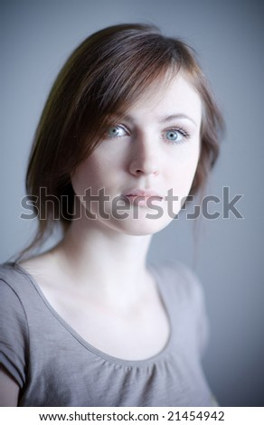 Portrait of a beautiful young lady - stock photo