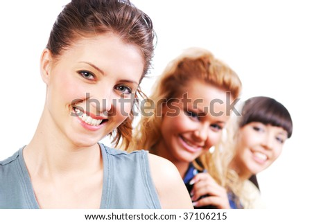 Portrait of a beautiful young only female students on a white - stock photo