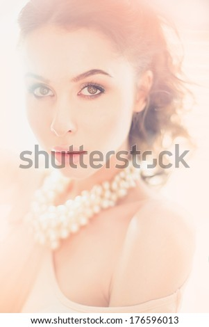 portrait of a beautiful young sexy woman with red lips - stock photo