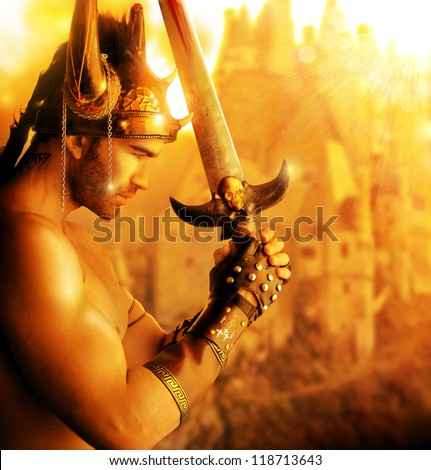 Portrait of a beautiful young warrior holding sword in golden light - stock photo