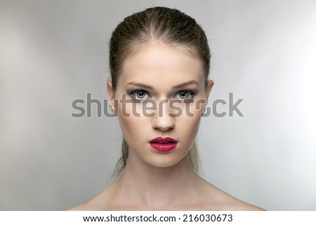 portrait of a beautiful young woman.Close up. - stock photo