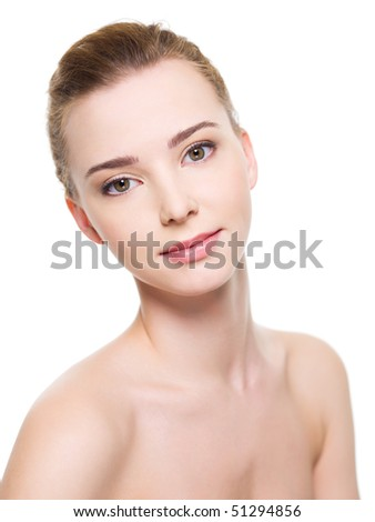 Portrait of a Beautiful young woman face with fresh clean skin - isolated on white - stock photo