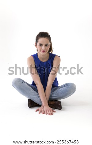 Portrait of a beautiful young woman. Isolated on a white background - stock photo