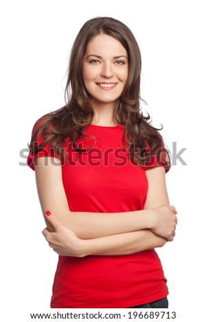 Portrait of a beautiful young woman, isolated on white - stock photo