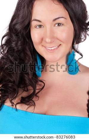 Portrait of a beautiful young woman looking happy against white background - stock photo